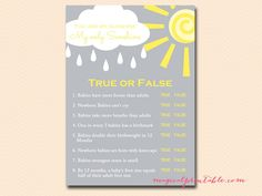 true-or-false You are my Sunshine Baby Shower Game Pack
