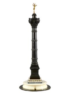 """An unsusual bronze, white and bleu Turquin marble and gilt metal  model of the """" Colonne de Juliet""""   Place de la Bastille  c. 1840,  Paris.  The same colunm with exact dimensions is in the collections of the Carnavalet Museum in Paris. Dim: 72 x 24 cm."""