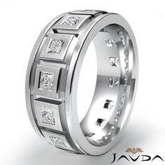Princess Diamond Men Eternity Wedding Band 14k Gold White 1 4ct 9 25M Solid Ring | eBay