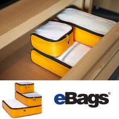 eBags Ultralight Packing Cubes. Staying organized while traveling is easy when you embrace the concept of packing cubes. Divide and Conquer. Socks or Underwear in small cubes, T-shirts in slim cubes, Shirts, and Slacks in large cubes.