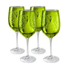Product: 4 Wine glasses Construction Material: Glass Color: Lemon grass Capacity: 15 oz. Each Dimensions:  9 H x 3 D each Note: These glasses are individually formed and crafted by hand. Slight imperfections and texture variations are marks of the handcrafted process which enhance the unique characteristics of each glass.