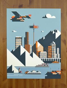 weandthecolor:  Seattle Poster Illustration by Rick Murphy More...