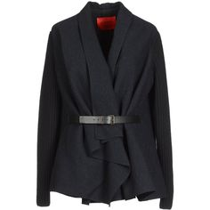 LANVIN Blazer ($970) ❤ liked on Polyvore featuring outerwear, jackets, blazers, coats, steel grey, multi pocket jacket, single breasted jacket, lanvin blazer, lanvin jacket and belted blazer