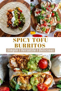 These Spicy Tofu Burritos are simple to make, easily adjustable to suite your taste, and great for easy weeknight meals and meal-prep! I love to keep a big batch of these in my freezer to throw in the oven for super lazy (and healthy!) meals. The sofritas in the burritos gives them so much flavor and I know you're going to love these!