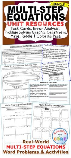 MULTI-STEP EQUATIONS BUNDLE - Task Cards, Error Analysis, Graphic Organizers  This BUNDLE includes 40 task cards, 10 error analysis activities and 10 problem solving graphic organizers (a total of 60 real-world word problems). The resources in this bundle are perfect for warm-ups, cooperative learning, spiral review, math centers, assessment prep and homework. Topics included: ✔ multi-step equations ✔ equations with variables on both sides Common Core: 8EE7a, 8EE7b