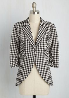 Fine and Sandy Blazer in Black Gingham. No need to roll up your sleeves before the big meeting - this black-and-white gingham blazer boasts ruched 3/4-length sleeves for a look that means festive and functional business. #black #modcloth