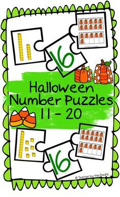 HALLOWEEN Number Puzzles, 11 – 20 #kindergartencommoncore #halloweenmath #numberpuzzles #autumnmath