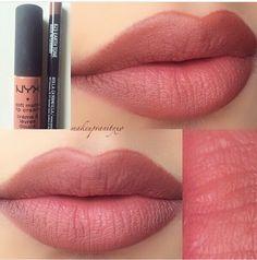 Best Ideas For Makeup Tutorials : NYX Lip liner- earth tone Matte lip cream- Stockholm -mom Makeup Dupes, Skin Makeup, Makeup Lipstick, Nyx Lipstick Swatches, Nyx Matte Lipsticks, Nyx Smlc, Nyx Cosmetics Lipstick, Revlon Matte Balm, Cosmetics Glitter