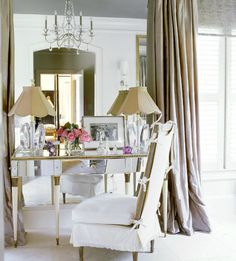 Mirrored vanity in bedroom, Suzanne Kasler, Ma Mason master bedroom, FAVORITE LK, mine mirrored side tables antique furniture,