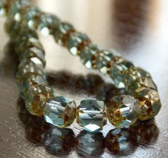 Aquamarine Picasso Czech Glass Bead 6mm by BobbiThisnThat on Etsy, $2.95