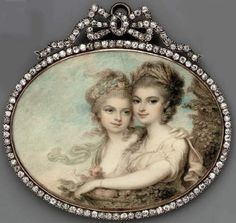 Miniature Of The Aston Sisters By Samuel Shelley (1750-1808).