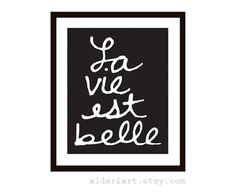 La Vie Est Belle French Typography Digital Print - Black Wall Art Home Decor - Poster on Etsy, $18.00