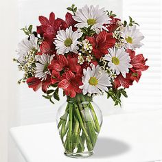 Floral bouquet/arrangement with red alstroemeria and white daisy spray chrysanthemums accented with assorted greenery in glass vase. Send Flowers Online, Online Flower Shop, Order Flowers, Fresh Flowers, Beautiful Flowers, Small Flowers, Online Florist, Easter Flowers, Flowers Garden