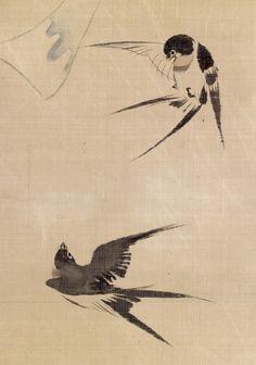 'Two Swallows and Wind Bell'. Edo. Silk painting by Sakai Hōitsu (酒井抱一) (1761–1828) Walters Art Museum via Wikimedia