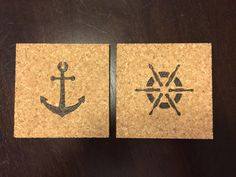 Wood Burned Cork Square Coasters Nautical Anchor Set of 2 ~ Pyrography by DesignsByRebeccaLynn on Etsy