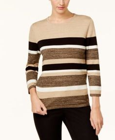 Alfred Dunner Striped Sweater - Tan/Beige XL