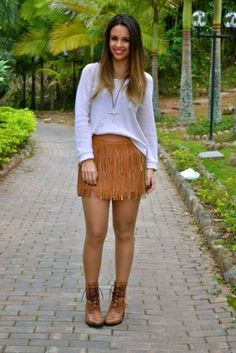 Looks Boho Chic, Look Boho, Rodeo Outfits, Cute Outfits, Looks Country, Cowboys And Indians, Leather Mini Skirts, Southern Style, Boho Shorts