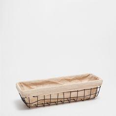 CESTA RECTANGULAR CUADROS METAL NEGRO - Cestas - Baño   Zara Home España