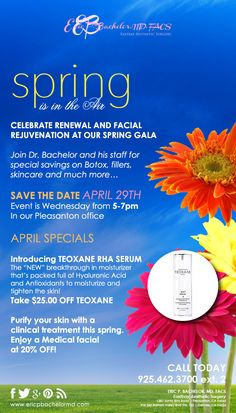 Join Dr. Bachelor and his staff for special savings on Botox, fillers, skincare, and much more on April 29th from 5-7pm!
