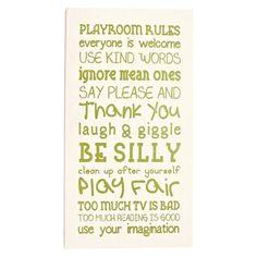 Twelve Timbers Wall Art - Playroom Rules