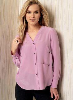 V1503   Misses' Front-Ruffle or Pocket-Detail Top   Vogue Patterns