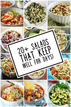 Make ahead salads are incredibly handy for BBQ side dishes. Here's a collection recipes for salads that keep well for days! These summer salad recipes are great for packed lunches, parties and potlucks. These healthy recipes include many lettuce-free salads which means they keep well and stay fresh for days! #salad #recipes #sidedish #summerrecipes Side Salad Recipes, Summer Salad Recipes, Healthy Salad Recipes, Summer Salads, Lunch Recipes, Delicious Recipes, Ham Recipes, Carrot Recipes, Cabbage Recipes