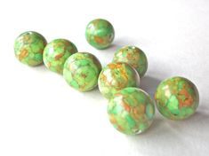 Large round 12mm green mosaic turquoise beads set of by StarJewels, $3.75