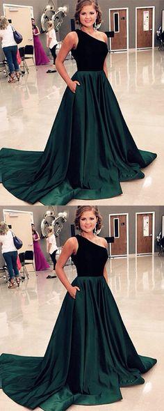 Long Emerald Green Velvet Top Prom Dresses One Shoulder Evening Gowns 2018