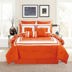 Amazon.com: 12 Piece Bernard Orange Comforter Set with Sheets Cal King: Home & Kitchen