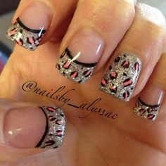Silver glitter polish in French tip leopard nail art design. Have an edge when it comes to your nail art. Combine glitter polish with the fierce leopard prints and you get this pretty little number. Sexy Nails, Hot Nails, Fancy Nails, Leopard Nail Art, Leopard Print Nails, Leopard Prints, Animal Prints, Pink Leopard, Fabulous Nails