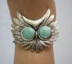 Owl Cuff Vintage Face Metal Bracelet with Turquoise Colored Howlite Stones #Unbranded #Cuff