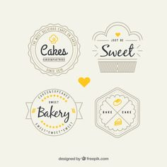 More than a million free vectors, PSD, photos and free icons. Exclusive freebies and all graphic resources that you need for your projects Cake Logo Design, Bakery Design, Cake Branding, Logo Branding, Logo Boulangerie, Logo Patisserie, Pastry Logo, Baking Logo, Typo Logo