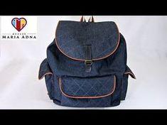 Bolsa mochila em jeans Roberta. Bolsa mochila em tecido com moldes. Fabric  jeans backpack bag ef47c38f34bd5