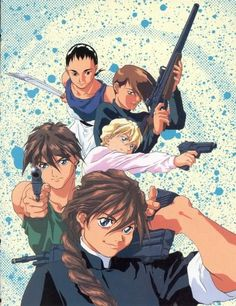 Gundam Wing ~~~ Pilots and their weaponry of choice. Gee, why does Wufei use a close-range one? {facepalm}