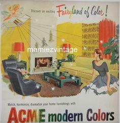 Vintage ACME Paint Ad/ Modern Colors/ Vintage by mamiezvintage, $9.95