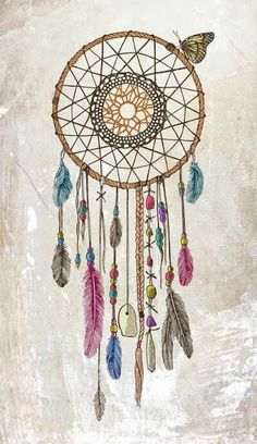 Dream catcher, beads, feathers and butterfly illustration