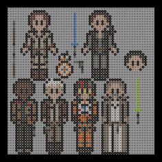 This is my first star wars perler bead pattern ever I hope I did a good job on them :/ Star Wars 7 Finn (jakku) Han solo Poe Dameron (pilot gear) Luke skywalker Rey (jakku) BB-8 Leia organa Poe Dam...