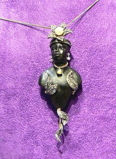 Anthyllis Moretto Ebony, gold and silver diamond rose cut pearls. Dogale jewellery Venice Italia www.veneziagioielli.com Giorgio Berto Design