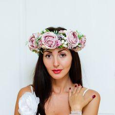 Pink flower crown Flower headband Flower hair от ByKochetova