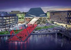 """Grand Canal Square in Docklands, with a diamond-like theatre as its centrepiece, will provide """"an architectural expression of the vitality of Dublin"""", according to its designer, perky international """"starchitect"""" Daniel Libeskind. Grand Canal, Urban Landscape, Landscape Photos, Landscape Designs, Martha Schwartz, Water Walls, Theatre Design, Street Furniture, Urban Furniture"""