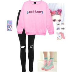 Pastel Goth by hanakdudley on Polyvore featuring Topshop and Nila Anthony