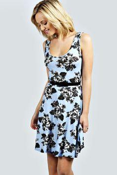 Halle Rose Print Belted Skater Dress at boohoo.com