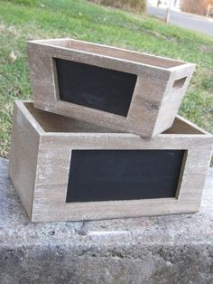Set Of 2 Chalkboard Planter Box Wood Wooden Distressed Vintage Wedding Card…