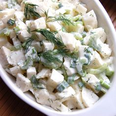 """Jicama Dill """"Potato"""" Salad- this is my favorite healthy version of potato salad. It's so refreshing a light. Perfect for a hot summer day!"""