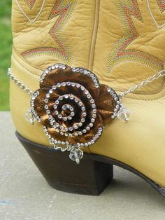 Brown Gold Bling Flower Cowboy Cowgirl Boot Jewelry with Silver Chain & Beads