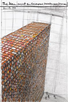 """Christo The Wall (Project for Gasometer, Oberhausen, Germany) Drawing 1998 12 3/4 x 8 7/8"""" (32.2 cm x 22.5 cm) Pencil and crayon"""