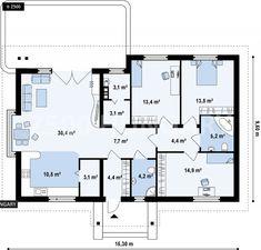 Családi ház tervek, családi ház alaprajzok, családi házépítés Basement House, Garden Spaces, Autocad, Tiny House, House Plans, Sweet Home, Floor Plans, Construction, Layout