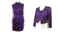1980's Cheongsam Qipao Purple Satin Brocade Dress von bigbangzero