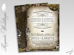 Gears Vintage Victorian Steampunk Wedding Invitations but with real gears