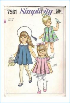 Items similar to Adorable Toddler Girls Sun Party Dress Inverted Pleats Penny Brite Size 2 Breast 21 Vintage Sewing Pattern Simplicity 7561 Complete on Etsy Childrens Sewing Patterns, Kids Patterns, Simplicity Sewing Patterns, Sewing For Kids, Vintage Sewing Patterns, Clothes Patterns, Easy Sewing Projects, Sewing Projects For Beginners, Sewing Ideas